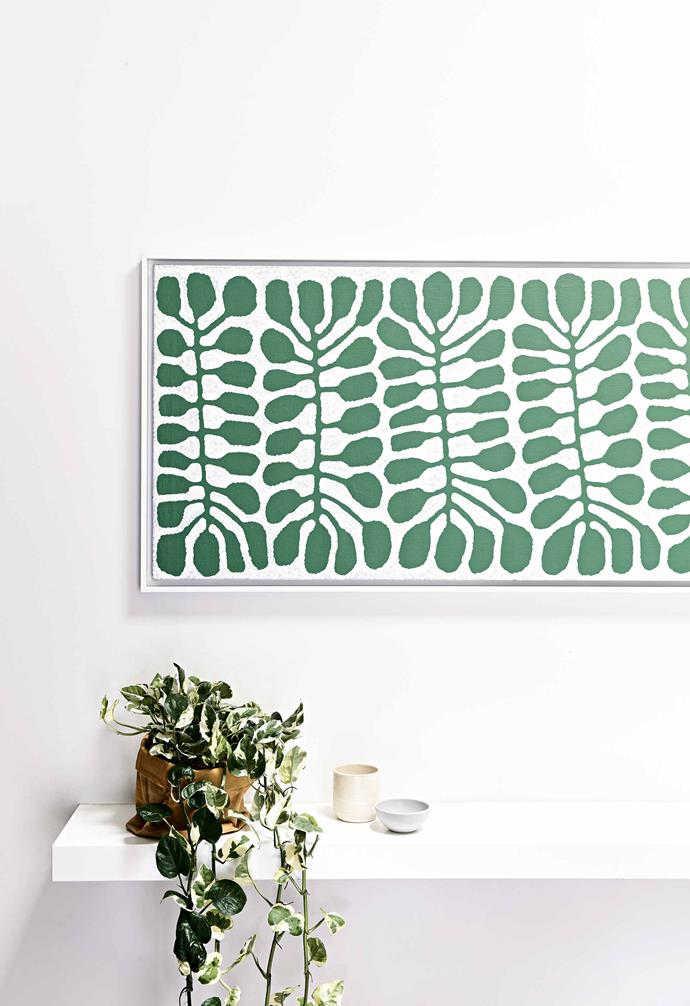 "Rebecca Shnider has loved emerald green for as long as she can remember. ""I bought Derwent pencil number 46 so many times as a kid because I kept running out,"" she says of her favourite colour. It's reflected throughout her home with soft furnishings, homewares, and artwork popping in the tropical tone. The pièce de résistance is a recent purchase: an abstract bottle-green jungle painting by artist [Spencer Shakespeare](https://www.instagram.com/spencershakespeare/?hl=en