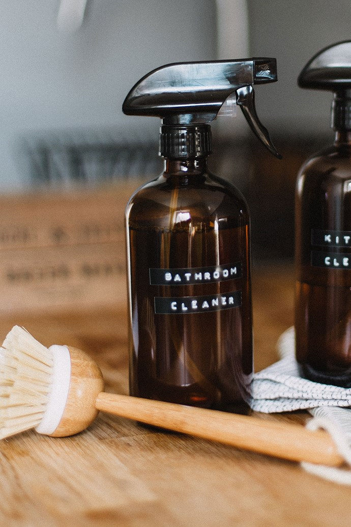 """Refillable glass spray bottles are a good investment if you plan to make your own DIY natural bathroom cleaner. *Photo: Daiga Ellaby on [Unsplash](https://unsplash.com/@daiga_ellaby