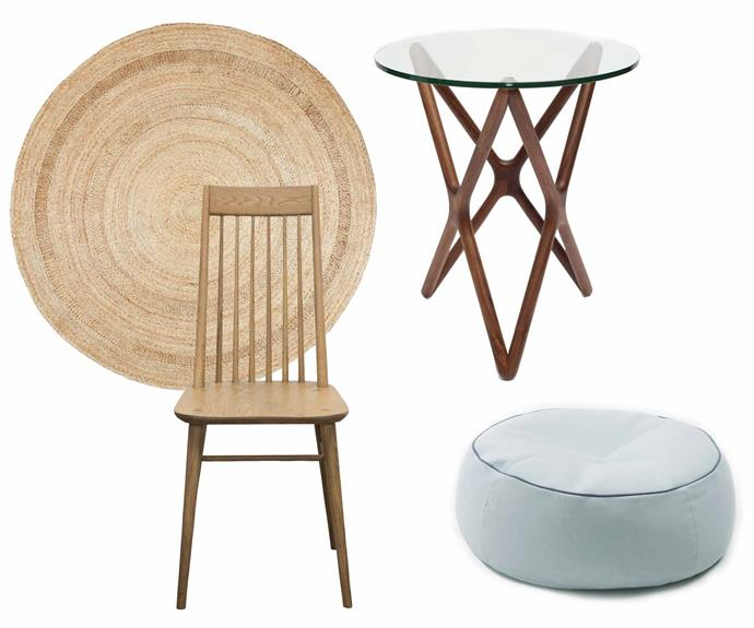 **Get the look** (clockwise from left) Petunia rug (1.82 diameter), $750, [Armadillo & Co](https://armadillo-co.com/). Sean Dix 'Triple X' side table in American Walnut, $495, [Spence & Lyda](https://www.spenceandlyda.com.au/). Alby ottoman in Stella wool/Blizzard, $554, [Jardan](https://www.jardan.com.au/). Petunia rug (1.82 diameter), $750, [Armadillo & Co](https://armadillo-co.com/).