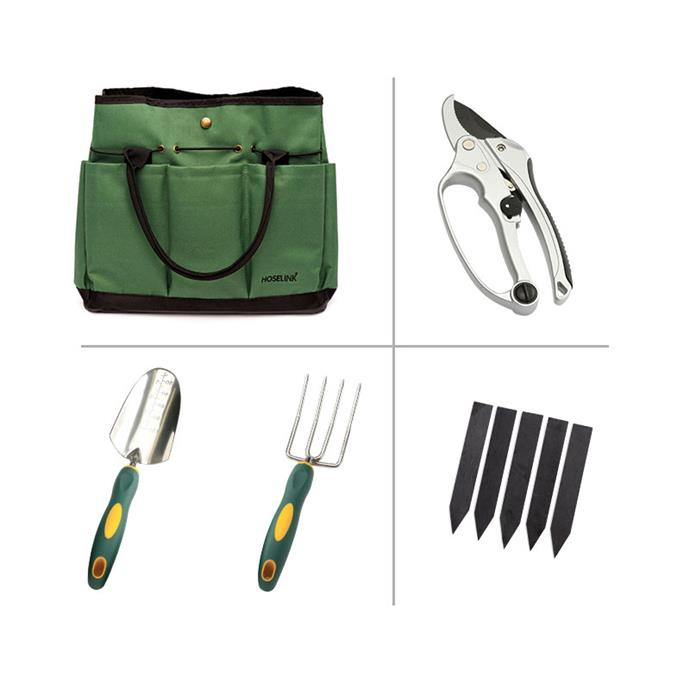 "Garden Lovers **bundle** including garden tool **tote bag**, ratchet **pruners**, garden **trowel**, **garden fork** and slate **plant labels**, $97.20, from [Hoselink](https://www.hoselink.com.au/buy/garden-lovers-bundle/9942|target=""_blank""