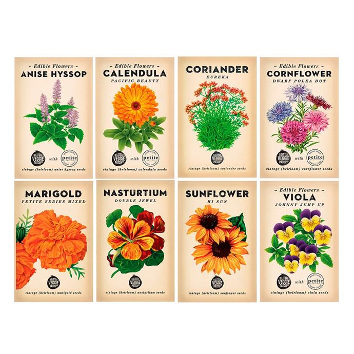 "Edible flower **heirloom seed bundle**, $35, from [The Little Veggie Patch Co.](https://littleveggiepatchco.com.au/products/edibleflowerheirloomseedbundle?variant=26183692937|target=""_blank""|rel=""nofollow"")."