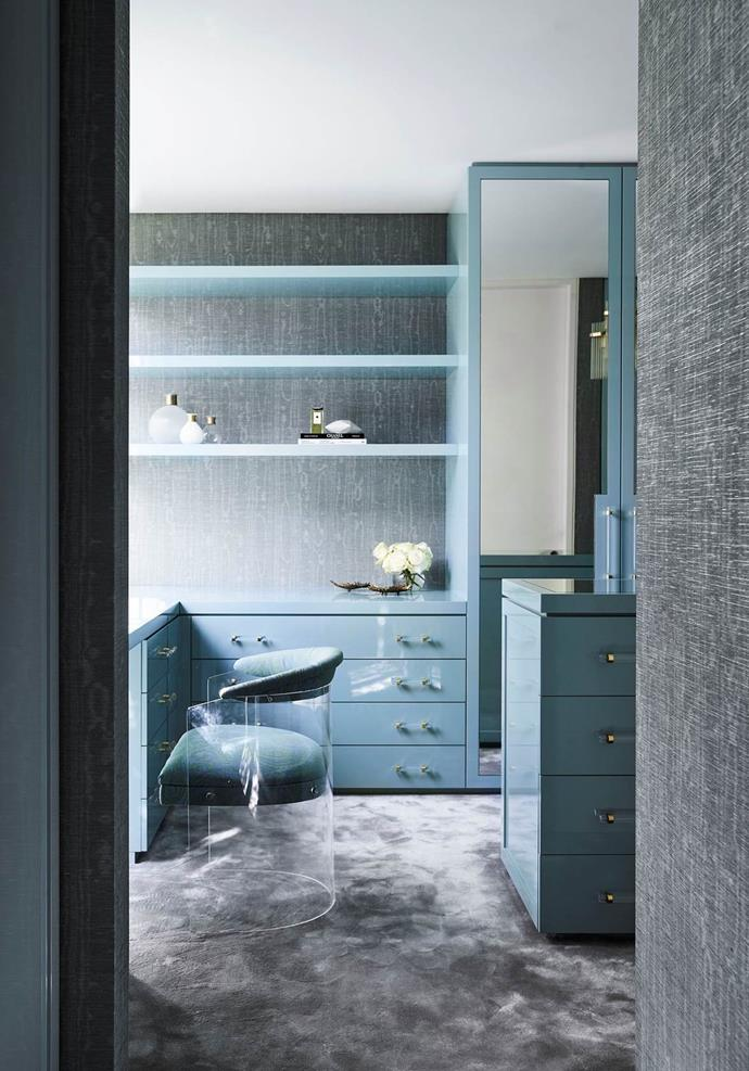 Poco Designs swathed the walls of Skye Leckie's dressing room in an elegant, water silk wallpaper. *Photograph*: Anson Smart. From *Belle* November 2018.