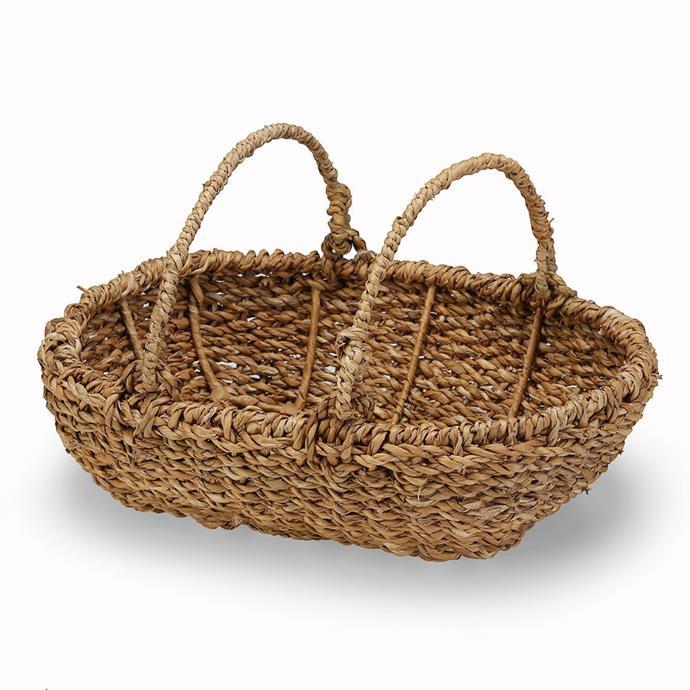"Hogla fibre **garden basket** with handles, $39.95, from [Oxfam](https://shop.oxfam.org.au/hogla-fibre-garden-basket-with-handles|target=""_blank""|rel=""nofollow"")."
