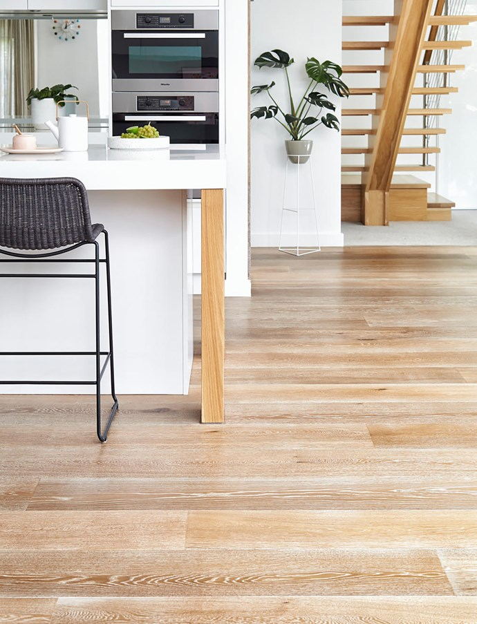 A new floor, like this one with smoked and limed engineered timber boards from Royal Oak Floors, can be laid quickly.