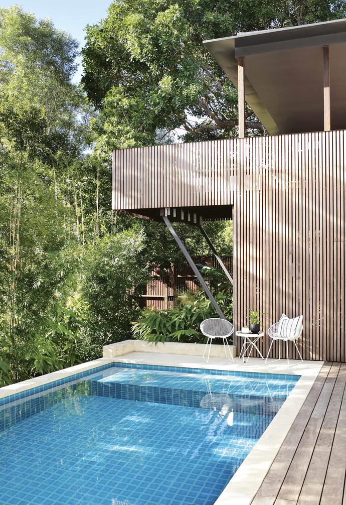 "**Kerb appeal** ""Our approach was to render the brown brick in a cement finish and then we designed a timber screen that actually sat out from the building to screen the original facade,"" says architect David Teeland. ""It worked on two levels: on a poetic level and on a practical level, it provided privacy and sun protection.""<br><br>**Pool** An outdoor setting from [Space to Create](https://spacetocreate.co/