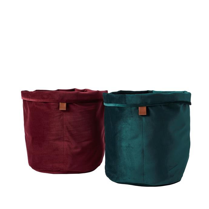 Velvet home decor **bags**, available in purple and emerald, price TBA.
