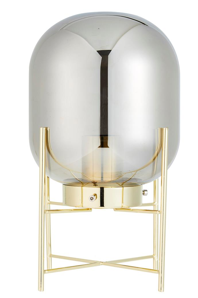 'Scarlet' tinted glass **table lamp**, available in gold and black, $29.