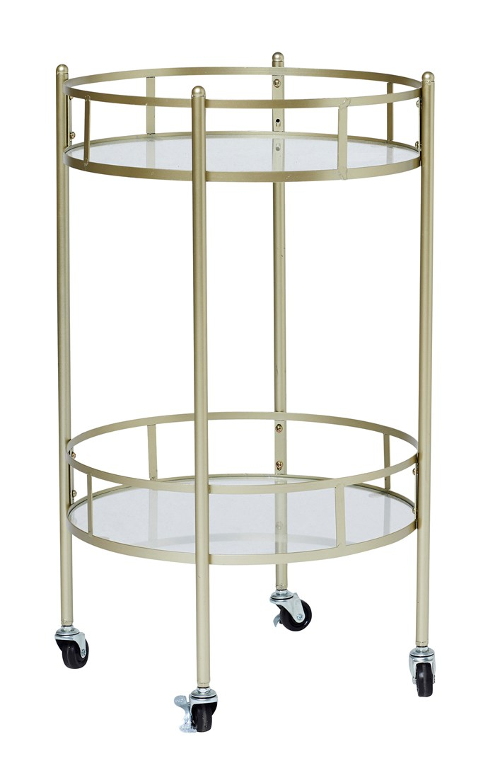 London gold metal **bar trolley**, $49.