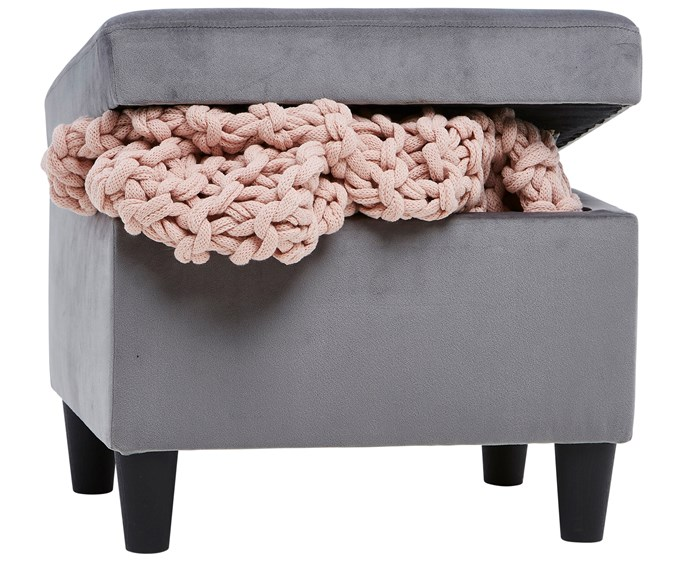 Velvet storage **ottoman**, available in emerald and grey, $49.