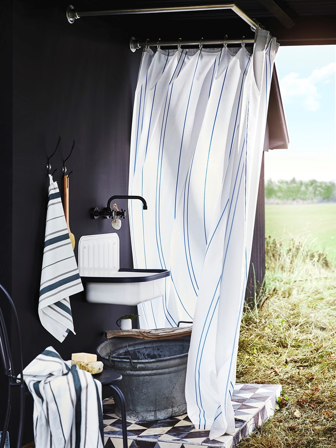 OTTSJÖN series: Hand towel, $4.99 and Bath towel, $9.99. Shower curtain, $14.99.