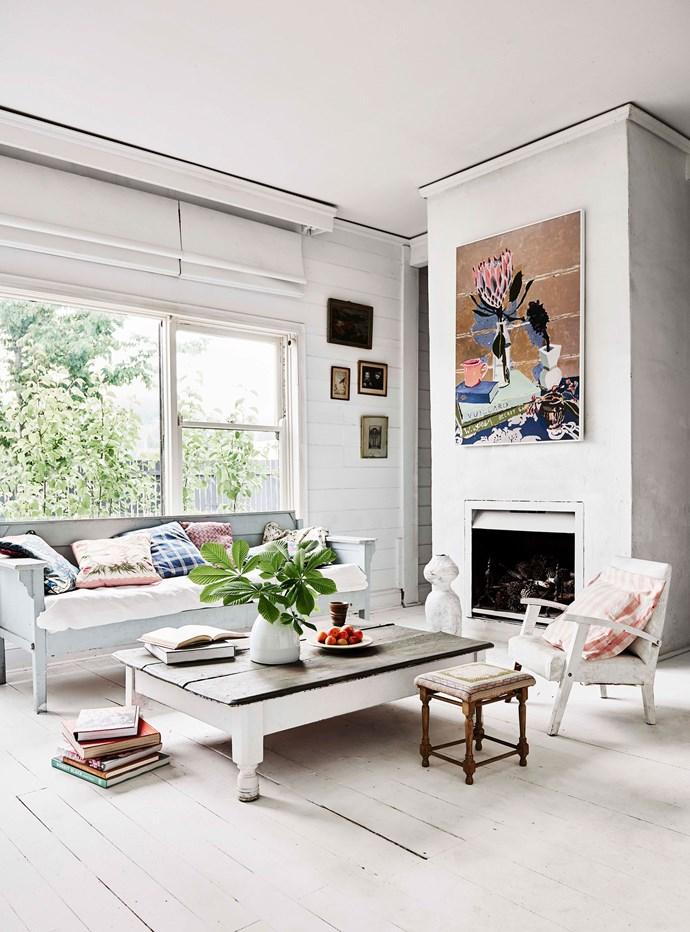 "In the living room, he work above the fireplace, Vuillard and Wendy, was painted for her 2016 'Space Between Hours' exhibition. ""I'm constantly [rearranging the spaces](https://www.homestolove.com.au/6-living-room-layout-and-design-tips-6182