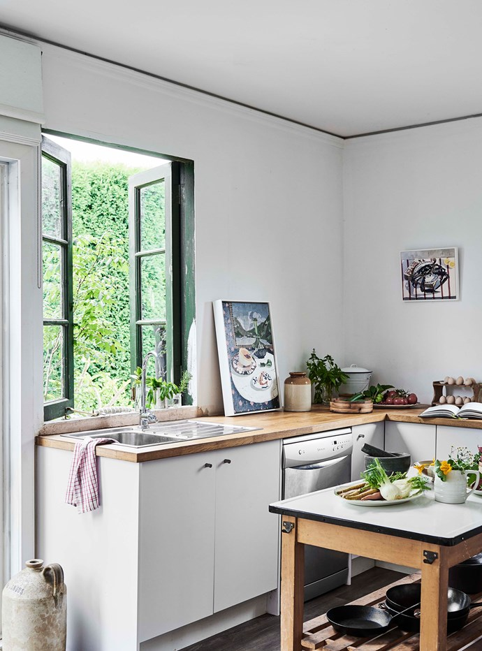 "Previously occupied by a roofing company, and then an antiques dealer, the house required a lot of work — for one thing, there was no kitchen when the family moved in. ""We lived with a makeshift sink and a barbecue for quite some time. On reflection I laugh when I think of our first days in the house — we were so happy to just have a space of our own that we were truly blind to all the work that needed to be done,"" Zoe says."