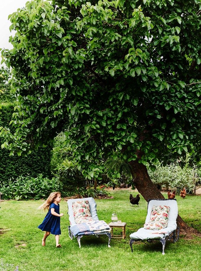 "Lucy runs around the [picturesque country garden](https://www.homestolove.com.au/country-garden-ideas-australia-13701|target=""_blank""), while the family's chickens wander in the background. ""Reg and Mum have worked to create a series of micro gardens, entwined by little paths,"" explains Zoe."