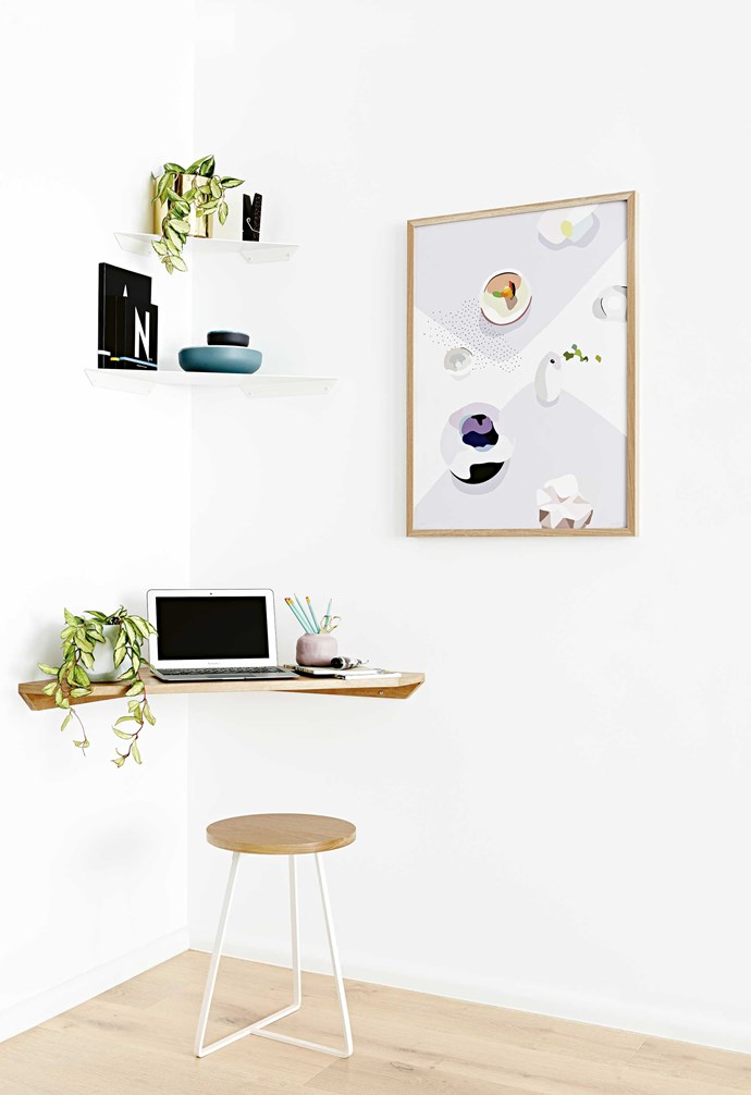 """When it comes to small spaces, each and every nook can and should be utilised. The corner of this room has been transformed into an easy [study nook](https://www.homestolove.com.au/12-creative-ways-to-create-a-study-nook-in-your-home-17963 target=""""_blank"""")."""