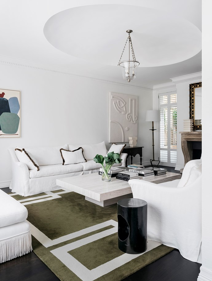 A deft blend of custom-made, contemporary and antique pieces creates a unique ambience in this classic Sydney home that has been revamped by Phoebe Nicol. *Photograph*: Felix Forest. From *Belle* May 2019.