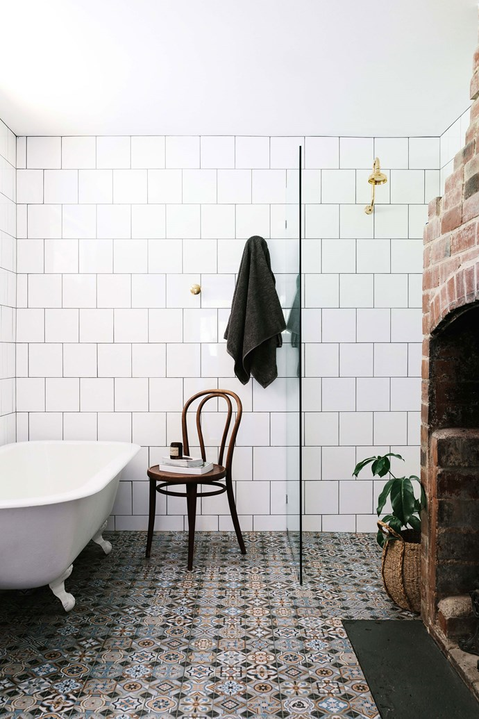 """Red Shed Restoration in Huonville supplied the feet for the old bath, which was found in an orchard. The floor tiles are from [Beaumont Tiles](https://www.beaumont-tiles.com.au/