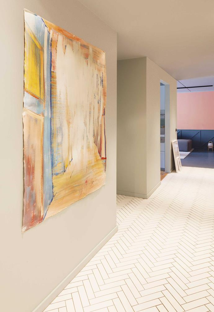 """**Hallway** The painting is a family project, says Daniel. """"It's an ongoing artwork by me and the kids, where we can whip out crayons or paint and do a few strokes when we feel like it."""""""