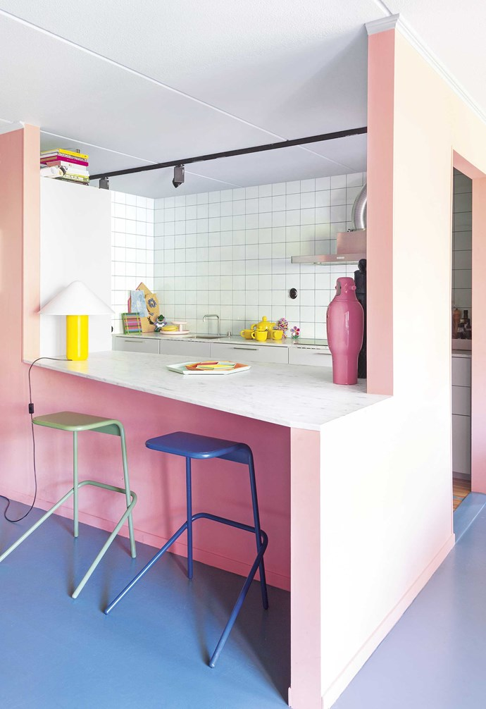 "**Kitchen** Blue, green and yellow join the pink party in the kitchen, which has a new marble benchtop, cupboards and tiled walls. 'Alodia' stools, [Cappellini](https://www.cappellini.com/en|target=""_blank""
