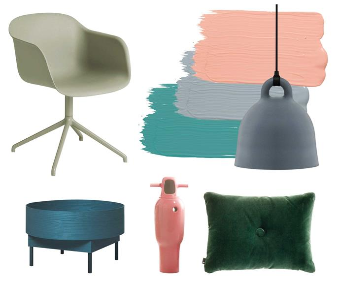 """**Get the look** Dark-toned neutrals cast pastel pieces in a Scandi-style light. **Get the look** (clockwise from left) Muuto 'Fiber' armchair, $971, [Living Edge](https://livingedge.com.au/ target=""""_blank"""" rel=""""nofollow""""). Wash&Wear low sheen acrylic paint in Petula, $77.90 for 4L, [Dulux](https://www.dulux.com.au/ target=""""_blank"""" rel=""""nofollow""""). Endure interior paint in 'Iron Mask', $74.90 for 4L, [Taubmans](https://www.taubmans.com.au/homeowners target=""""_blank"""" rel=""""nofollow""""). Wash&Wear low sheen acrylic paint in Submerge, $91.55 for 4L, [Dulux](https://www.dulux.com.au/ target=""""_blank"""" rel=""""nofollow""""). Normann Copenhagen 'Bell' lamp, $475 for extra small, [Curious Grace](https://curiousgrace.com.au/ target=""""_blank"""" rel=""""nofollow""""). Hay '1 Dot' cushion, $185, [Cult](https://cultdesign.com.au/ target=""""_blank"""" rel=""""nofollow""""). BD Barcelona Design 'No.4' vase, $1270, [Living Edge](https://livingedge.com.au/ target=""""_blank"""" rel=""""nofollow""""). Fogia 'Bowl' coffee table, $1540 for small, [Fred International](https://fredinternational.com.au/ target=""""_blank"""" rel=""""nofollow"""")."""
