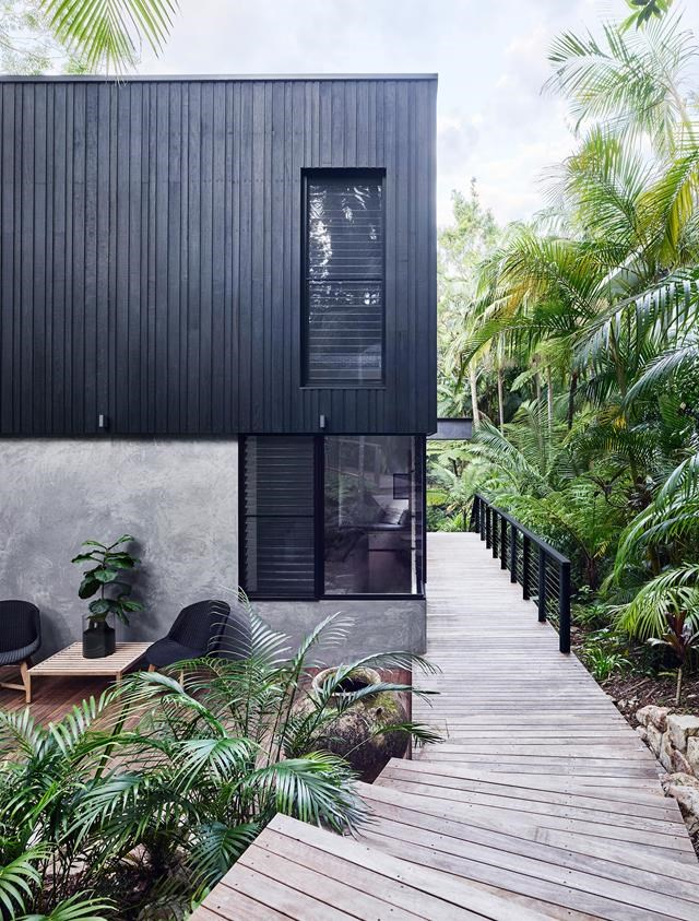 """Glossy palms and rich undergrowth provide strong colour contrast to this [holiday home](https://www.homestolove.com.au/a-luxury-noosa-holiday-home-by-mim-design-6146