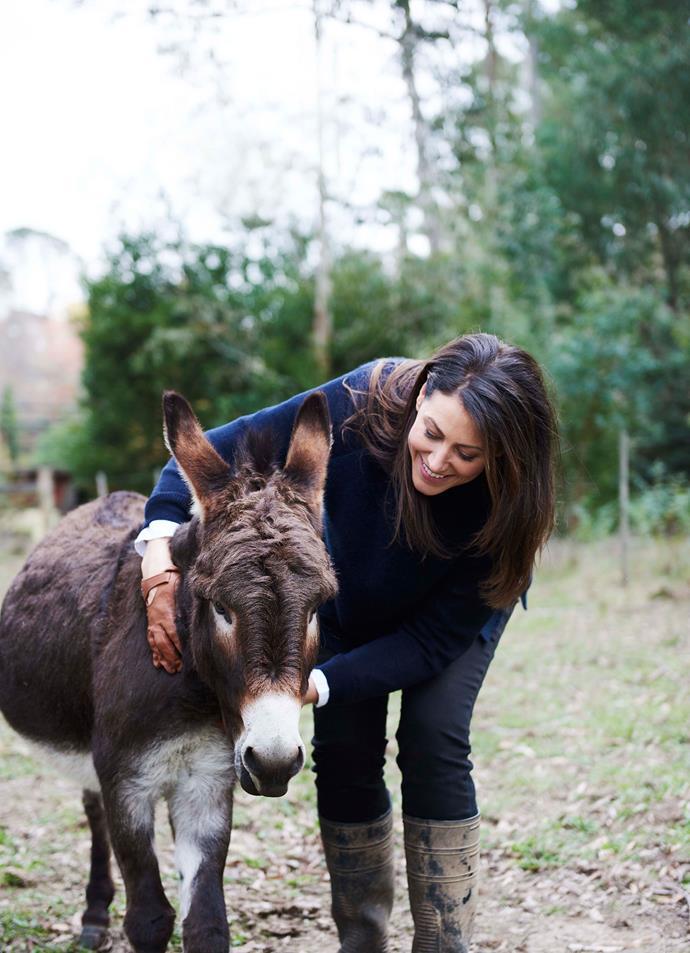 Bridget with Felix the miniature donkey.