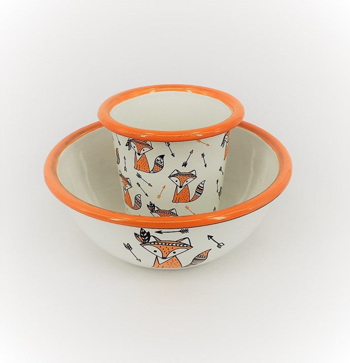 """Enamel **bowl and tumbler set** in cute foxes, $22.50, from [Little Echidna Home](https://littleechidnahome.com.au/collections/enamel-ware/products/enamel-bowl-and-tumbler-set-cute-foxes