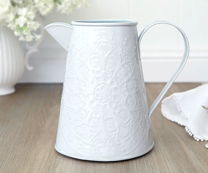 """Wisteria embossed enamel **jug**, $34.95, from [French Knot](https://www.frenchknot.com.au/products.php?c=124&p=6986