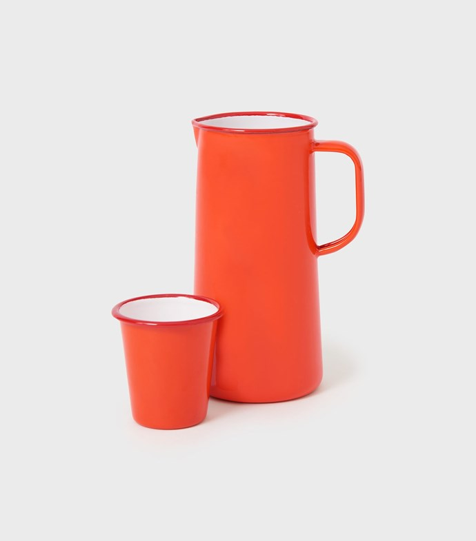"""Falcon enamel **pitcher**, $60, and **cup**, $13, from [Toast](https://www.toa.st/au/product/6blat/enamel+pitcher.htm