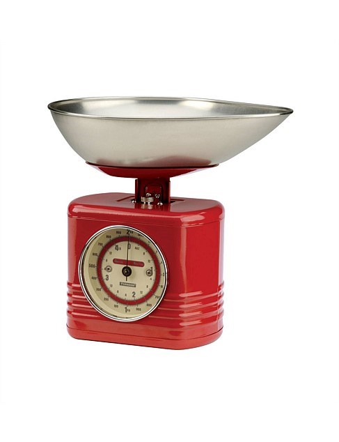 """Typhoon 'Vintage' **kitchen scales** in red, $89.95, from [David Jones](https://www.davidjones.com//20415381/Vintage-Kitchen-Scales-28x26x22.5cm---Red.html
