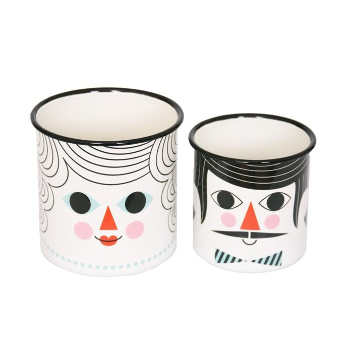 "Omm Design enamel **flower pots**, $50 (for a set of 2), from [Leo and Bella](https://leoandbella.com.au/shop/omm-design-enamel-flower-pot-couple-set-of-2/|target=""_blank""|rel=""nofollow"")."