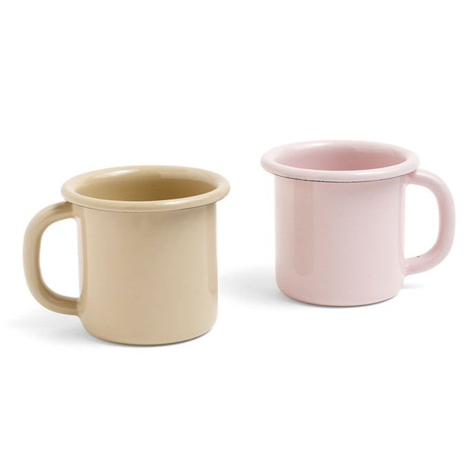 """Hay enamel **mugs** in brown and soft pink, $15.50 each, from [Connox](https://fave.co/2IzT5MF