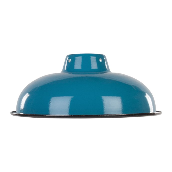 """Ian Snow enameled **lampshade** in teal, $46, from [Amara](https://fave.co/2IPyH9I