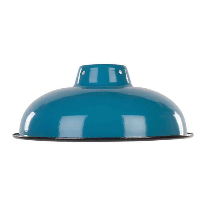 "Ian Snow enameled **lampshade** in teal, $46, from [Amara](https://fave.co/2IPyH9I|target=""_blank""