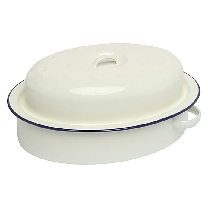 "Wiltshire enamel oval **roaster with lid**, $39.955, from [Zanui](https://fave.co/2Izupnx|target=""_blank""
