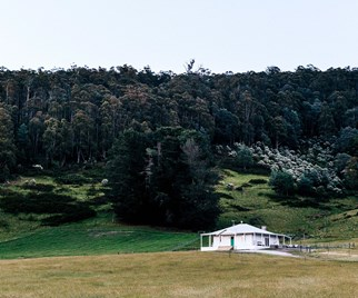 Restored white farmhouse in the Huon Valley of Tasmania