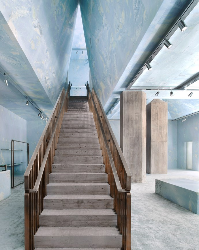 At the top of the concrete stairs are the ready-to-wear and accessories collections.