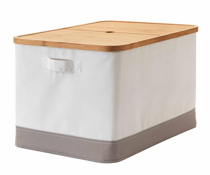 "The **RABBLA** storage boxes are a simple and affordable way to divide your wardrobe space and provide a home to your shoes, seasonal clothes or any pieces you might not want on display. The soft fabric box with wooden bamboo lid comes in a variety of sizes and adds a natural and soft feel to your space. RABBLA box with lid, $24.99, [IKEA](https://www.ikea.com/au/en/|target=""_blank""