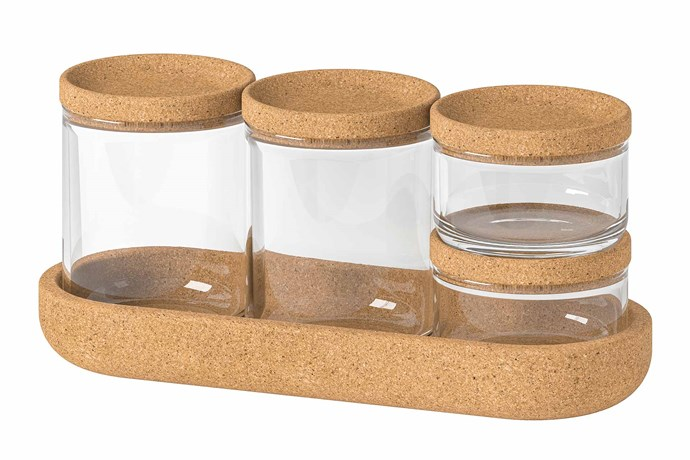 "The **SAXBORGA** jars are perfect if you're looking to both organise your smaller belongings while also keeping them on display on a nearby wall shelf or bedside table. The jars can be placed individually side-by-side, or stacked on top of each other as the cork lids and tray keep them in place. SAXBORGA jar with lid and tray, $9.99, [IKEA](https://www.ikea.com/au/en/|target=""_blank""