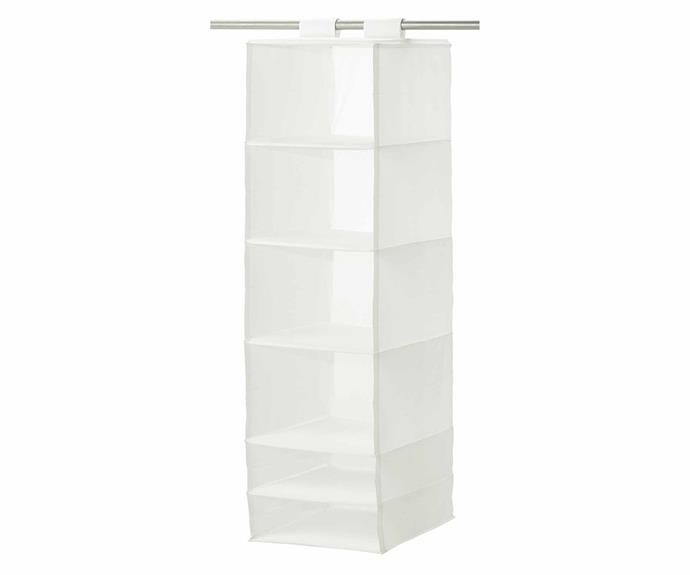 "If you're after more shelves for folded clothes, the **SKUBB** storage rack can be hung inside the wardrobe or on a freestanding rack.The hook and loop fastener makes it easy to hang up and move around to fit the needs of your space. SKUBB storage with 6 compartments, $14.99, [IKEA](https://www.ikea.com/au/en/|target=""_blank""