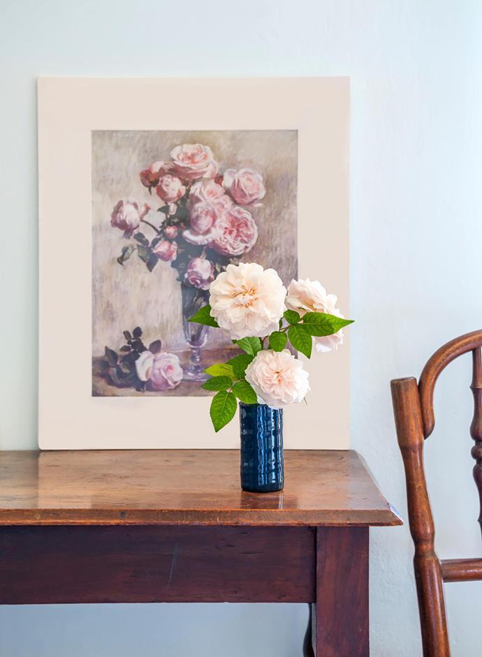Nora painted Souvenir Roses, 1946 for her father: the 'Souvenir de la Malmaison' roses (in the vase) still thrive in The Cedars' garden.