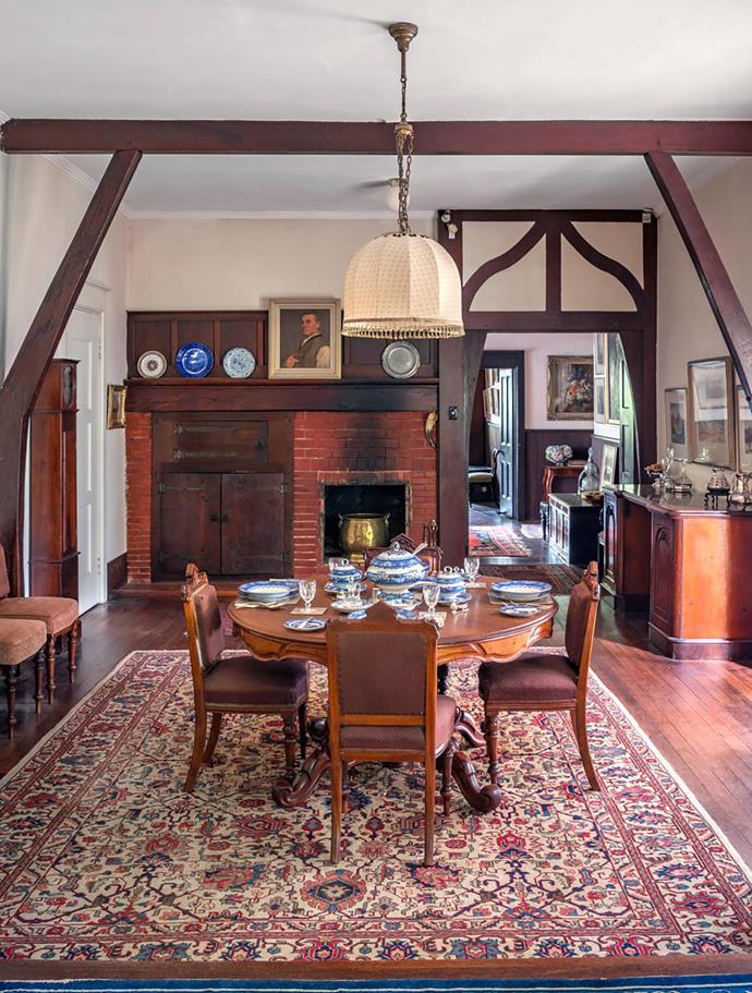 The dining room displays the Heysens' original furniture.