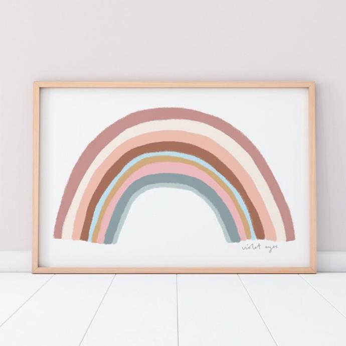 "Violet Eyes 'Rainbow Blessings' print in Blush, $99, [Norsu Interiors](https://norsu.com.au/collections/carrie-bickmores-nursery/products/violeteyes-rainbowblessingsblushpre-order|target=""_blank""