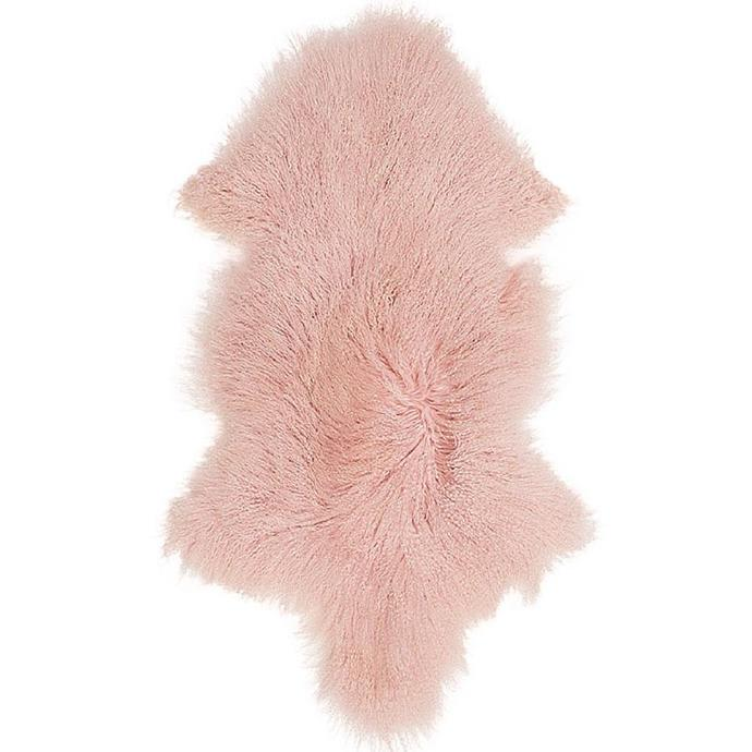 """Curly Hair Sheepskin in Blush Pink, $195, [Norsu Interiors](https://norsu.com.au/collections/carrie-bickmores-nursery/products/mongolian-curly-haired-sheepskin-blush-pink target=""""_blank"""" rel=""""nofollow"""")"""