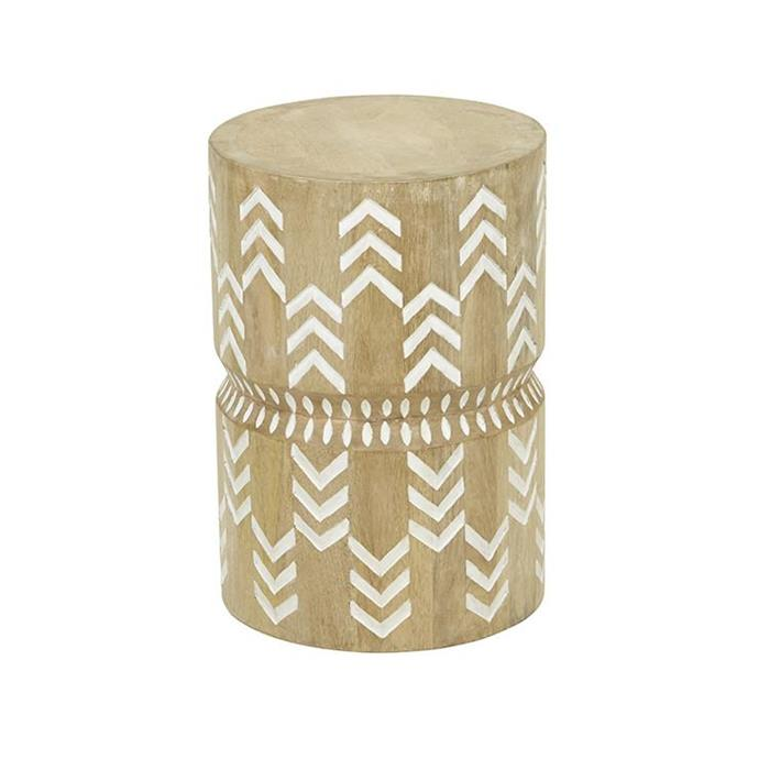"Vionnet Arrow Stool, $635, [Norsu Interiors](https://norsu.com.au/collections/carrie-bickmores-nursery/products/vionnet-arrow-stool|target=""_blank""