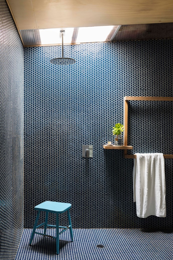The Pebble tiles in the bathroom are pool tiles from Buckley Ceramics, leftover from the renovation.