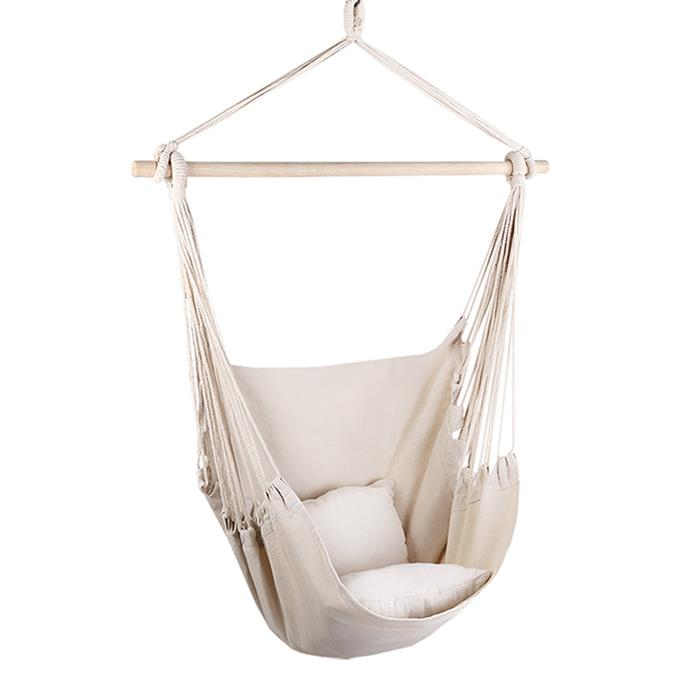 "If your mum's happy place is spending time outdoors with a good book, this **Lynno Hammock Chair**, $48.95, from [Zanui](https://www.zanui.com.au/Lynno-Hammock-Chair-162851.html|target=""_blank""