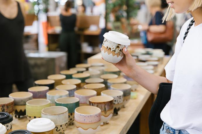 You'll find handcrafted ceramics aplenty at this year's Finders Keepers. A ceramic travel cup from Public Holiday is on our shopping list!