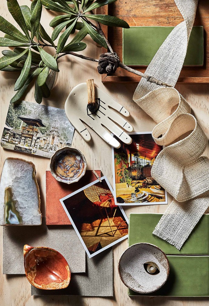 Devon tiles in Olive Gloss, Earp Bros. Timna Taylor condiment dish, Elke Lucas condiment dish, $16.50, and Leaf dish by Karen Jennings, all DEA Store. *Styling: Jono Fleming with assistance by Rory Carter, Chantelle Traficate and Alex Austin | Photography: Will Horner*.