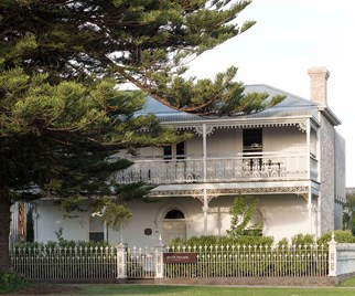 Exterior of a restored Blue stone building in Port Fairy VIC