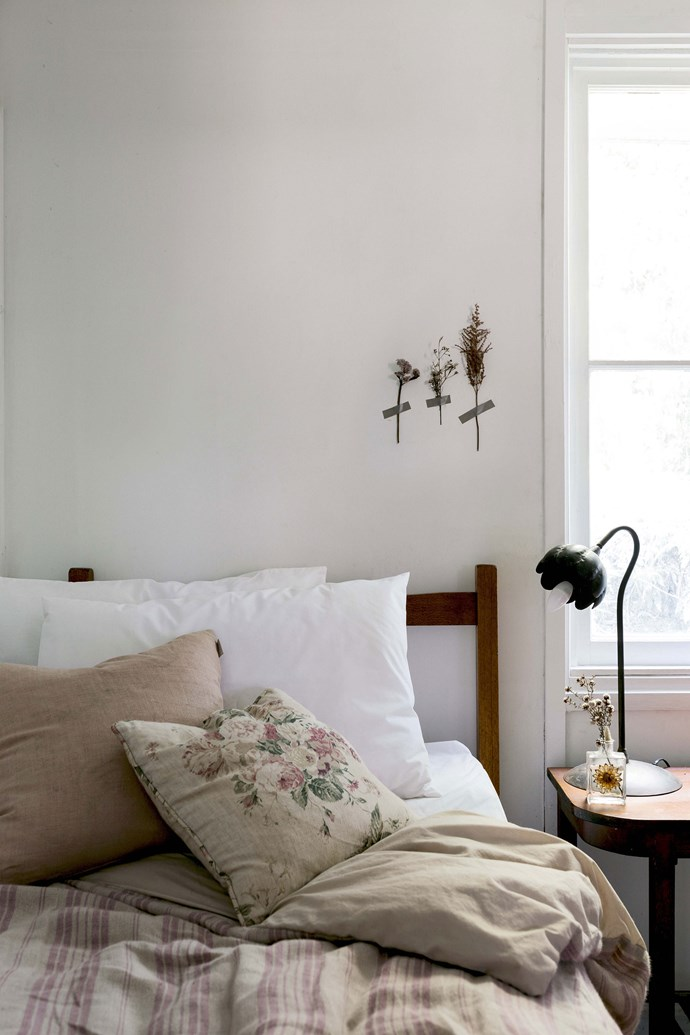 """Lisa, who used to work as a visual merchandiser and props maker, describes herself as a forager. The spare bedroom features a quilt cover made from a French linen tablecloth. [Washi tape](https://www.homestolove.com.au/handy-woman-diy-wall-art-2968